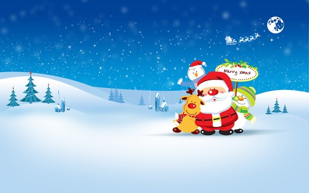 Merry Christmas! - penguin, snow, holiday, christmas, winter, snowman, deer, houses, santa, december, oranment, trees