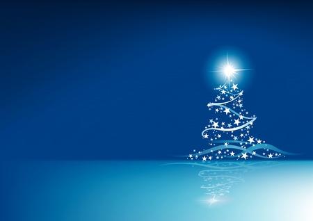 A Blue Christmas - christmas, stars, holiday, white, blue, tree