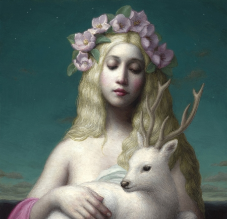 Diana - wreath, art, goddess, blonde, deer, horns, fantasy, flower, painting, pink, diana, pictura, hunter, chie yoshii, blue