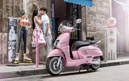 :) - scooter, girl, man, peugeot, pink, kiss, couple, street