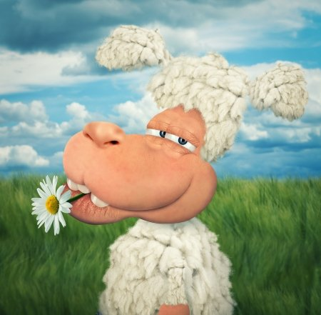 Happy sheep - fantasy, green, flower, white, animal, daisy, blue, john wilhelm, sheep, oaie