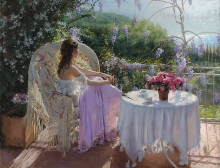 Day dreaming - girl, summer, flower, vicente romero redondo, pink, pictura, art, table, vara, painting