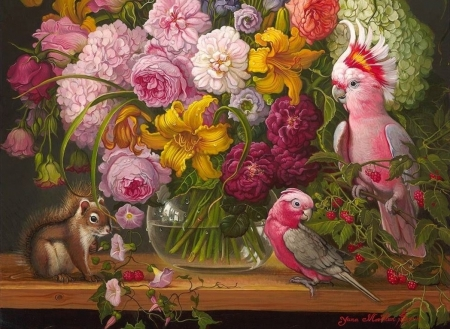 Floral with parrots and squirrel - art, veverita, squirrel, picutra, rose, yellow, parrot, fruit, yana movchan, bird, painting, pasari, raspberry, pink