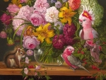 Floral with parrots and squirrel
