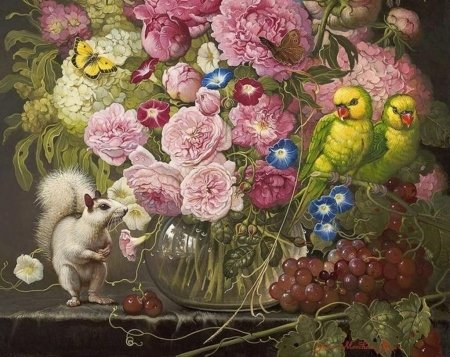 Floral with parrots and white squirrel - art, veverita, squirrel, parrot, grapes, fruit, yana movchan, bird, flower, pasari, painting, white, pink, pictura