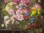 Floral with parrots and white squirrel