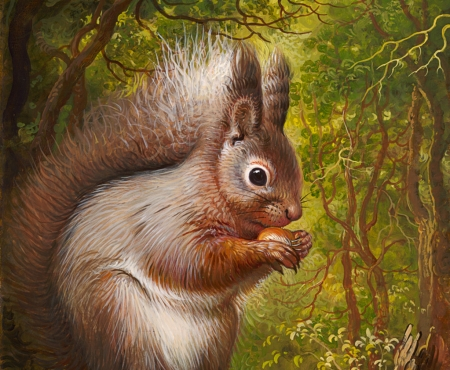 Squirrel - squirrel, veverita, yana movchan, painting, nut, pictura, animal, forest, art, green