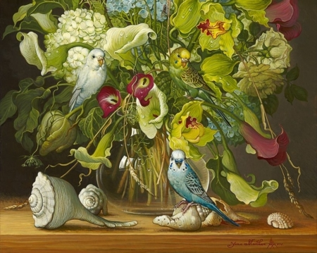 Flowers and seashells - seashell, yana movchan, bird, pasari, flower, vase, parrot, art, painting, pictura