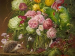 Floral with hedgehog and parrots