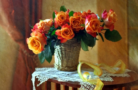 Still life with roses - beautiful, roses, fragrance, pretty, home, vase, scent, still life, elegance, bouquet, tea time, harmony