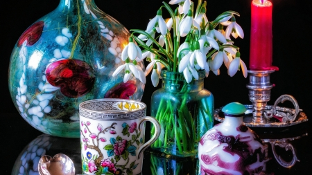 Tea Time - blossoms, flowers, still life, porcelain, candle