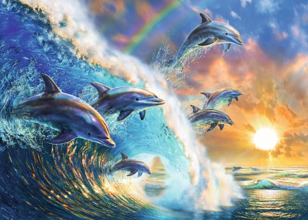 Dancing dolphins - summer, sunset, wave, sea, sun, luminos, water, dolphin, fantasy, vara