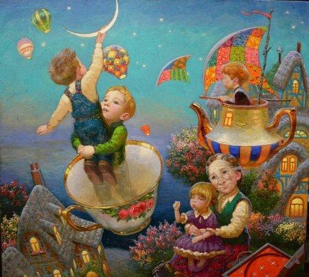 :) - victor nizovtsev, grandmother, art, luminos, luna, children, teapot, fantasy, moon, cup, copil, painting, pictura