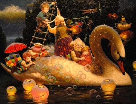 :) - victor nizovtsev, grandmother, luna, lantern, luminos, children, swan, moon, fantasy, copil, painting, dream, pictura