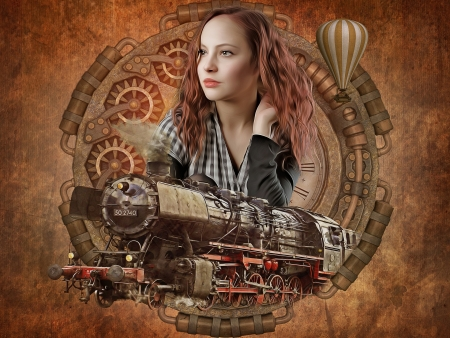 Vintage - locomotive, train, girl, gothic, art