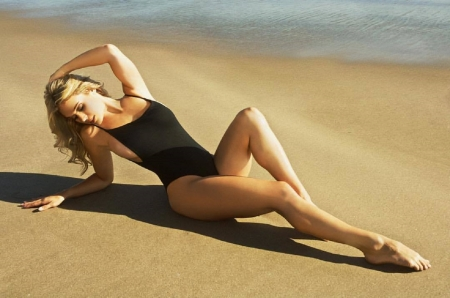 Lauren Elise - blonde, black bathing suit, long legs, sandy beach, sunny day