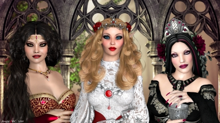 Royalty - lovely, poser, cg, elf, queen, elven, woman, fantasy, gothic, royalty, beauty, render, princess, midevil, lady