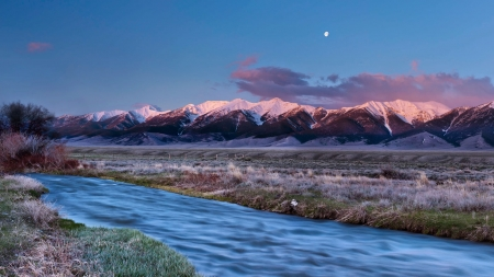 Early Spring Landscape - hd, moon, river, mountains