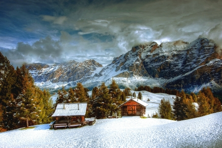 Winter evening - Clouds, House, Italy, Mountains, Smy, Snow