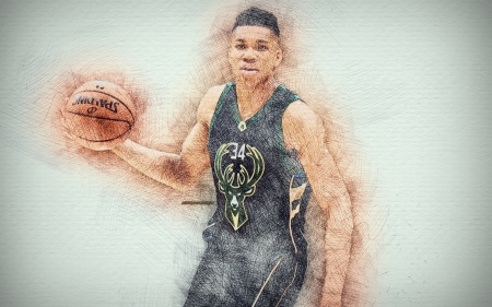 Giannis Antetokounmpo - Giannis, art, greek, milwaukee bucks, Greek, Basketball, nba, sport, Giannis Antetokounmpo, basketball, drawing, giannis antetokounmpo, NBA, greek freak, giannis