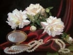 Still life with peonies and pearls