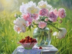 Peonies and cherries