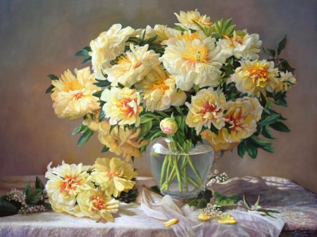 Peonies - art, zbigniew kopania, peony, painting, vase, yellow, bujor, flower, pictura