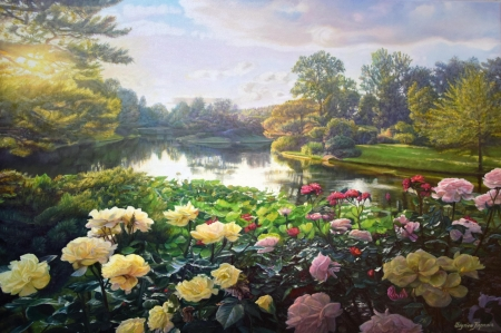 Roses - lake, zbigniew kopania, rose, yellow, water, vara, green, garden, summer, flower, painting, pictura, pink