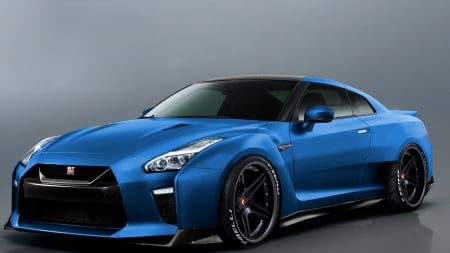 Nissan GTR Wide Body 2017 - Nissan GTR, blue cars, vehicles, cars, side view, gray background