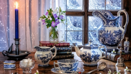 Cozy Still Life - snow, window, flowers, room, tea, winter, porcelain, candle, table, painting