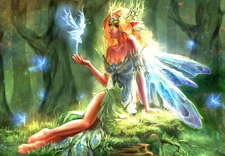 Springtime Fairy - forest, trees, elves, girl, artwork