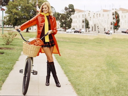 Maggie Grace - boots, model, legs, bicycle, smile, beautiful, Grace, rain coat, Maggie, Maggie Grace, 2019, jacket, actress, wallpaper, bike, hot, shirt, skirt