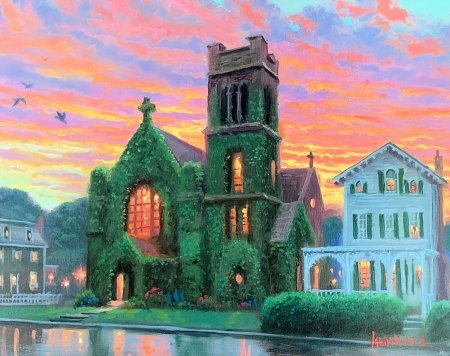 Light from Above - houses, painting, village, sunset, church, sky, artwork