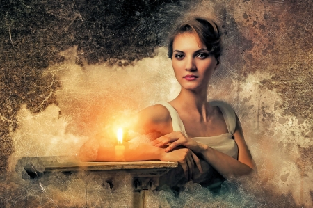 Gothic Girl - candle, twilight, sky, woman, art