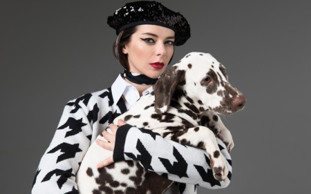 Marina Aleksandrova - black, Marina Aleksandrova, white, dalmatian, hat, animal, dog, woman, actress, girl