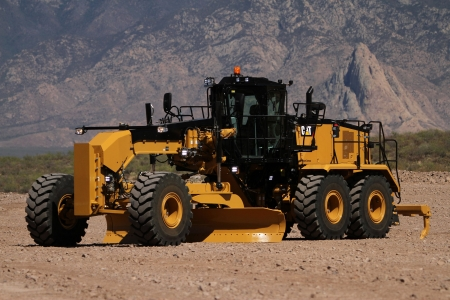 caterpillar 16m3 grader - mountain, caterpillar, grader, grass