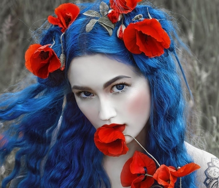 Beauty - mac, model, flower, face, woman, blue, red, poppy, girl, a m lorek