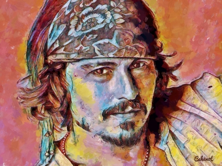 Johnny Depp - by cehenot, pictura, pink, cehenot, Johnny Depp, art, yellow, man, painting, portrait, actor