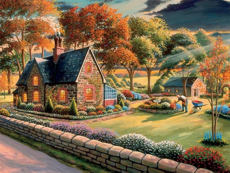 Gardener - cottage, painting, garden, flowers, trees, wall, artwork