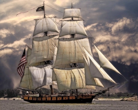 Full Sail - photo, water, ship, sail, old