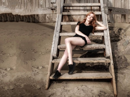 Katherine McNamara - legs, model, Katherine McNamara, McNamara, ladder, beautiful, blouse, sexy, Katherine, 2019, actress, wallpaper, shorts, shoes