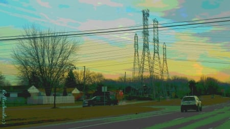 Power Lines & Stop Sign - traffic signals nSigns, wires, power lines, stop sign, pastels, pastel colors, trees