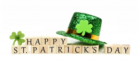 :) - clover, green, day, trifoi, st patrick, white, card, hat
