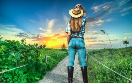 Path to the beach - beach, path, sunset, cowgirl
