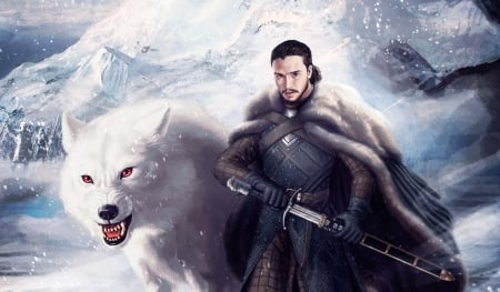 Jon Snow And Ghost Fantasy Abstract Background