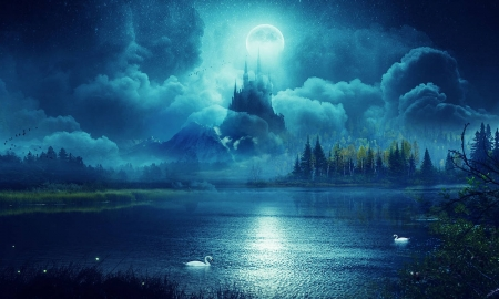 Castle by Moonlight - evening, clouds, lake, dreamy, swans, water, Castle, serene, moonlight, magical, blues