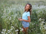 Katya Clover in a Field of Wild Flowers