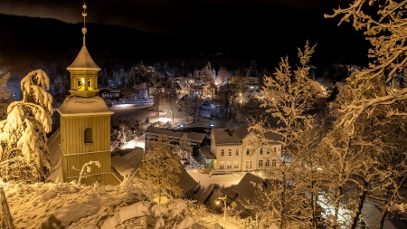Oybin, Saxony - houses, winter, germany, snow, church, night