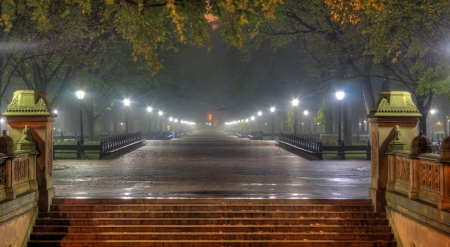 Central Park at Night - stairs, evening, sky, trees, night, lights, new york, park, central park, beauty, nature