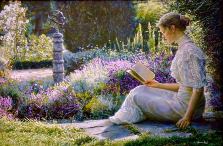 A Quiet Moment - sitting, Flowers, Garden, reading